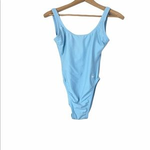 Vintage Nike Made in USA High Cut One Piece Swimsuit Light Blue